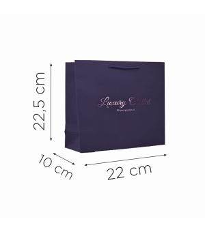 Buste in carta con stampa a caldo - carta colore blu 200 gr - 22,5X10X22 cm - maniglia in cotone