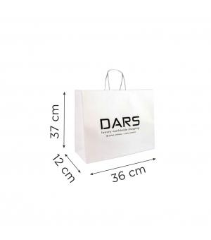 Buste  in carta con stampa digitale - kraft bianca110 gr  36X12X37 cm - maniglia ritorta