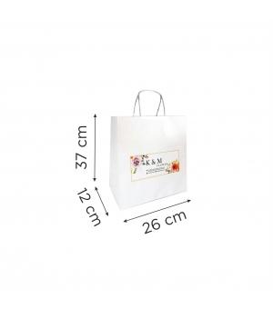 Buste  in carta con stampa digitale - kraft bianca110 gr  26X12X37 cm - maniglia ritorta