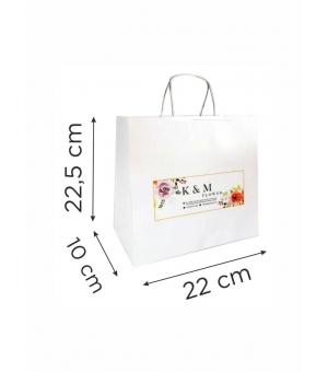 Buste  in carta con stampa digitale - kraft bianca110 gr  22X10X22,5 cm - maniglia ritorta