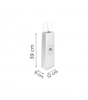 Buste  in carta con stampa digitale - kraft bianca110 gr  12x9x39 cm - maniglia ritorta