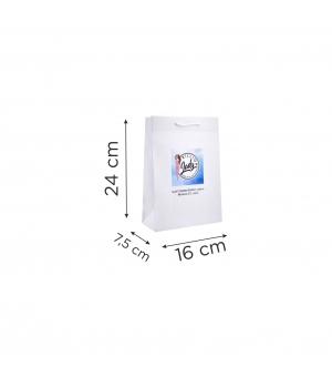 Buste  in carta con stampa digitale - kraft bianca 170 gr  16X7,5X24 cm - maniglia in cotone