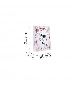 Buste  in carta con stampa totale - kraft bianca 170 gr  16X7,5X24 cm - maniglia in cotone