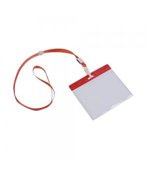 Nastro da collo con moschettone e porta badge in plastica trasparente