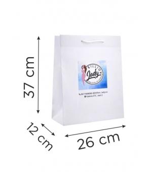 Buste  in carta con stampa digitale - kraft bianca 170 gr 26X12X37 cm - maniglia in cotone