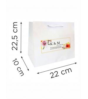 Buste  in carta con stampa digitale - kraft bianca 170 gr 22X10X22,5 cm - maniglia in cotone