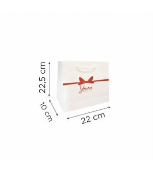 Buste  in carta con stampa torale - kraft bianca 170 gr 22X10X22,5 cm - maniglia in cotone