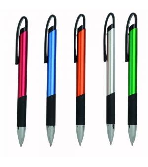 Penna a scatto in metallo, con impugnatura nera