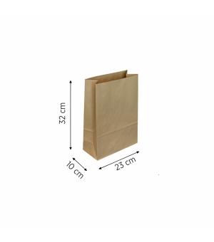 Sacchetti di carta per alimenti cm 23 x 10 x 32 carta kraft avana