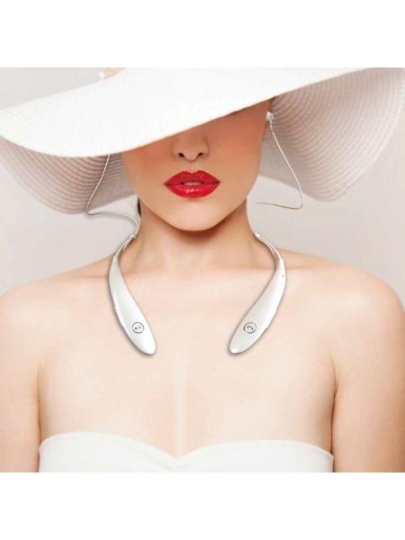 Auricolari stereo Bluetooth con microfono integrato e collarino gommato