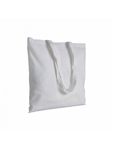 Shopper in cotone bianco 180 gr - 38x42 cm manici lunghi