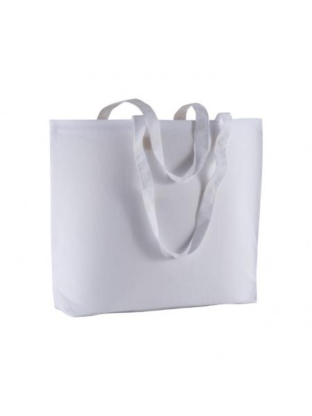 Shopper in cotone 135 gr con soffietto e manici lunghi - 50x38x15 cm