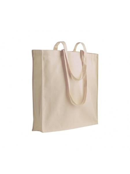 Shopper Borse in cotone manici lunghi e soffietto - 180 gr. -  38x42x8 cm