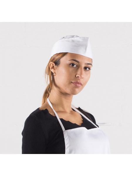 Cappello a bustina bianco in poliestere e cotone