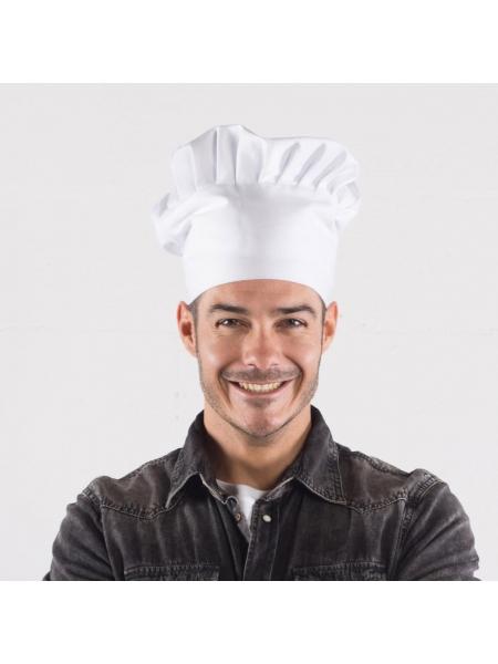 Cappello da chef elasticizzato bianco in poliestere e cotone