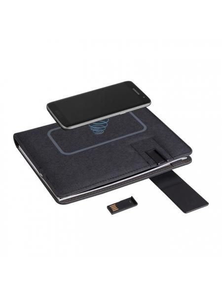Cartella portablocco con power bank e ricarica wireless cm17,5x22,2x3