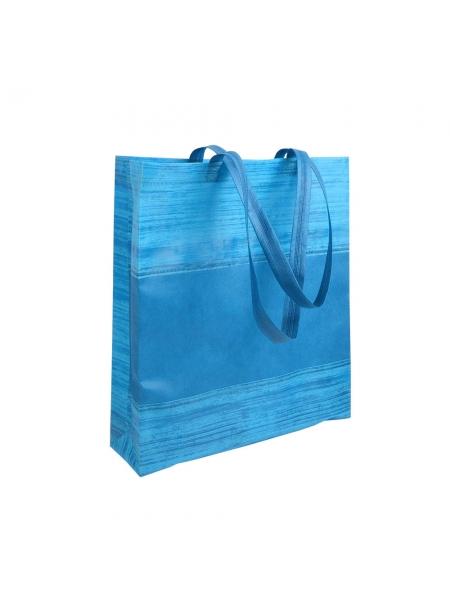 Shopper in TNT termosaldato con soffietto manici corti 38x42x10 cm decorata