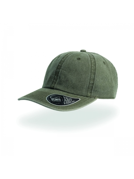 Cappellino Digg con visiera pre-curvata con 8 cuciture e adesivo Atlantis