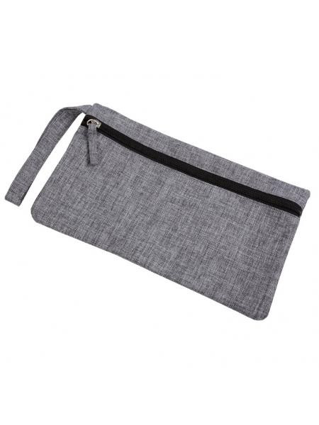 Porta documenti in poliestere melange con chiusura zip 29 x 16,5 cm