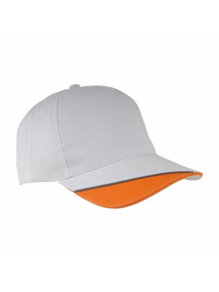 Cappellino in cotone con spicchio colorato su visiera