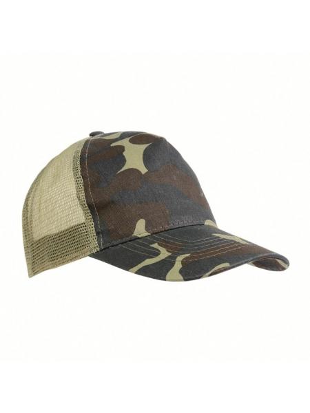 Cappellino mimetico con calotta a rete