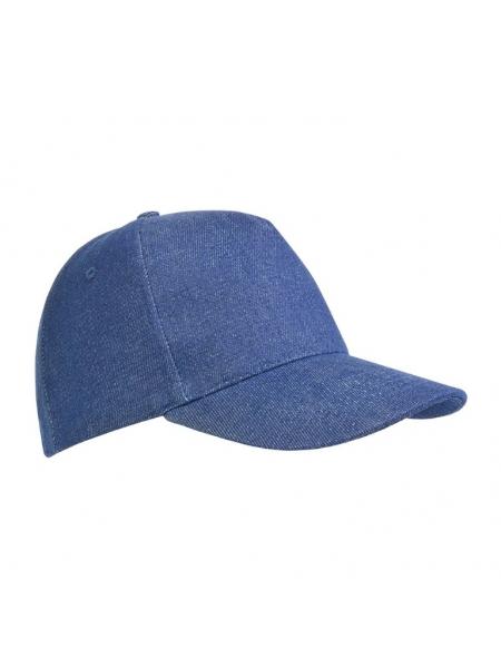 Cappellino in cotone pesante effetto jeans, 5 pannelli
