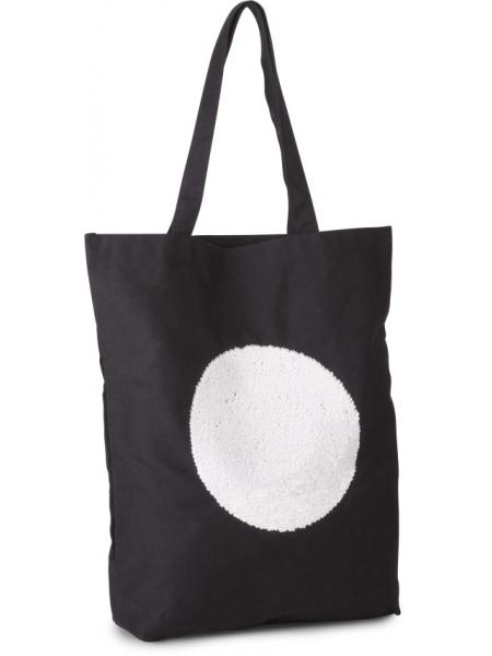 Shopper Ki-Mood in tela di cotone con paillettes - 38x42x10 cm - 310 gr