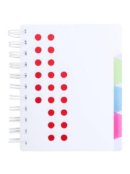 Taccuini con spirale cm 12,7x14,5x2,1 cover perforata e divisori interni