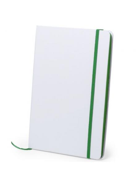 Block notes bianchi cm 14,7x21x1,5 con lato, elastico e segnalibro colorati