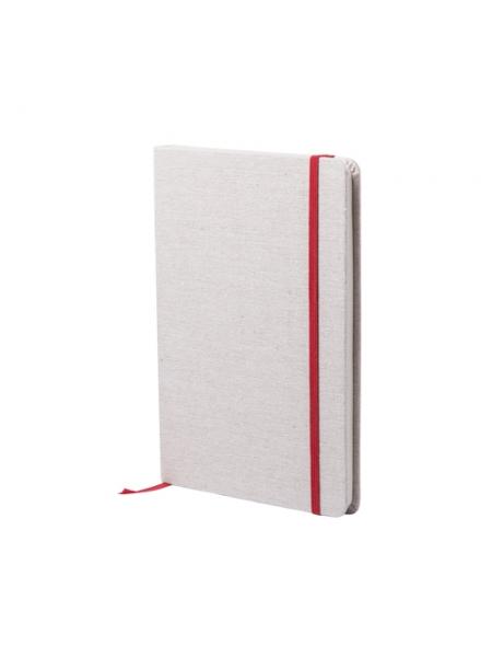 Block notes cm 14x21x1,5 con copertina rigida in cotone ed elastico colorato