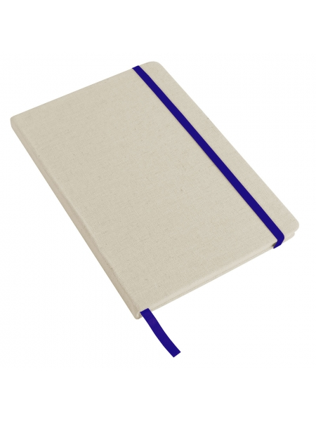 Taccuini in poliestere effetto canvas cm 14x21 con elastico colorato - 80 pagine fogli a righe
