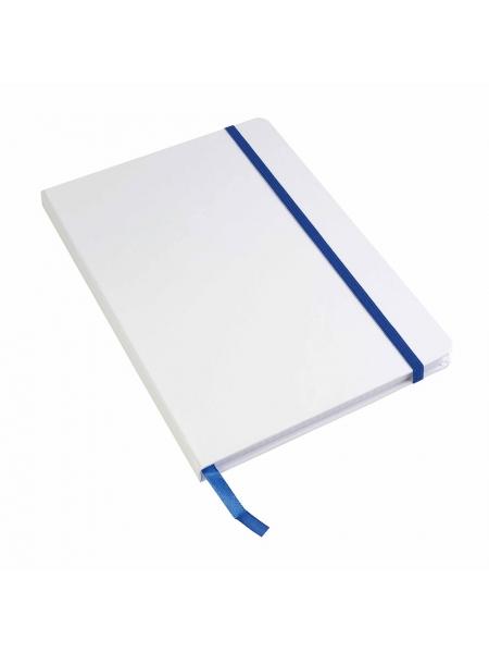 Quaderno con elastico colorato cm 15x21 copertina bianca con segnalibro - 80 pagine
