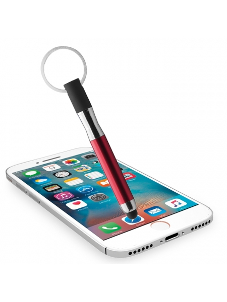 Penne a sfera con anello portachiavi e gommino per touch screen in plastica e metallo